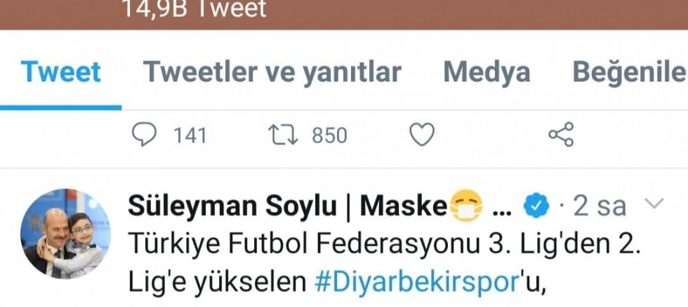 BAKAN SOYLU'DAN DİYARBEKİRSPOR'A KUTLAMA