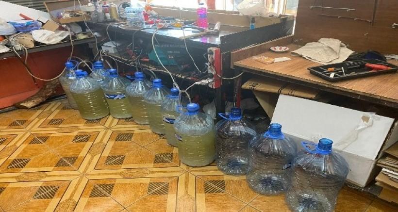 Kaçak içki imalathanesine baskın