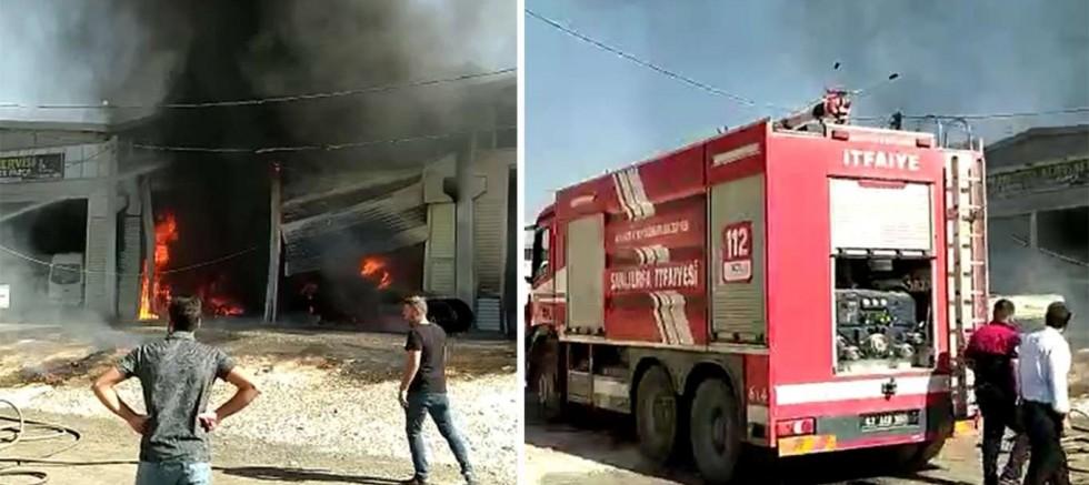 Sanayi sitesinde tamir atölyesinde çıkan yangında bir iş yeri ve 2 vinç zarar gördü